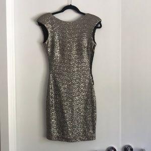 Zara silver sequence open back dress